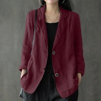 Women's Suits & Blazers Manga Longa Blazer Elegante Pescoco De Lapela Ol Feminino Solido Fino Casaco Terno Casual Algodao