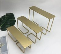 Stainless steel three piece stool frame Commercial Furniture metal wire flow table high and low shoe bag display tables