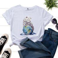 Женская футболка для футболки, играющая с шерстяным шариком графические футболки для женщин Crewneck с коротким рукавом хлопчатобумажные топы лето основная рубашка женская одежда