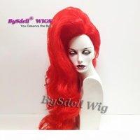 Perruque de cheveux Synthétique Rouge Couleur Synthétique Coiffure Mâle Perruque Flotte Fluffy Drag Ten Queen Stage Wigs Perruque de Parti unique