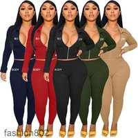 Women Designers Clothes Body Letters Long Sleeve lapel Zipper Jacket Pants Embroidery Two Pieces Outfits Sports Suits fashion802