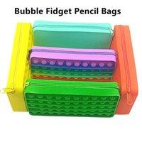 Creatieve persoonlijkheid potlood tas duwschuim siliconen fidget speelgoed rechthoekige briefpapier opbergtas verlichten drukpers spel speelgoed