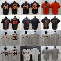 Erkek 28 Posey Beyzbol Formaları 24 Willie Mays 25 Barry Bonds Boş Dikişli Flexbase Serin Baz Takım Beyaz Siyah Bej