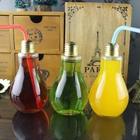 Drinkware Milk Tea Glass plastic Light Bulb Water Bottle 100ML - 500ML Drink Fruit Juice Teas Leak proof Containers Lamp Bulbs Bottles