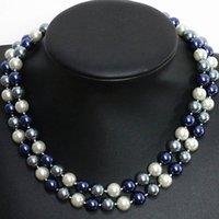 Classic Design vintage multicolore perline rotonde conchiglia simulata-perla donne collana a catena lunga 10 / 12mm gioielli 36 pollici B1508 catene