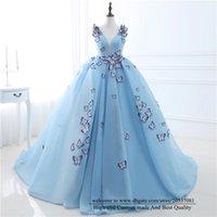 Quinceanera Abiti 2021 Light Blue Princess Farfalla Appliques V-Neck Party Prom Formale Tulle Pizzo Up Abito da ballo Vestidos de 15 ANOS Q19