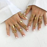 Lady's Plain Ring Gold Metal 26 Adjustable Split Initials Letter