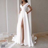 Sexy White Split Evening Dresses Stain Formal Prom Party Gowns Sweep Train V Neck Cap sleeves Normally Dress