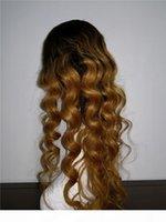 Ombre Blondine Braun T4 30 T4 27 Volle Spitze Perücken Lose Welle Brasilianische Haarperücken