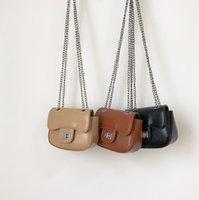 Fashion children purse girls metals buckle chain one-shoulder bags kids PU leather crossbody bag wallet princess accessories Q2217