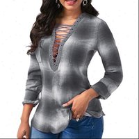 Vintage Plaid Print Pullover Women Blouses Tops Oversized Long Sleeve 5XL Autumn V Neck Hollow Out Lace Up Femal Shirt