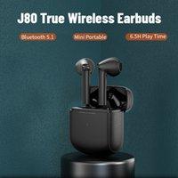 TWS Sport Earphone Mini Matte Black White Color Touch Bt V5.1 Bluetooth Headphone Long Lasting Battery Life Wireless Earbuds J80