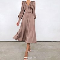 Casual Dresses Vintage Midi Satin Dress For Women Elegant Party Prom Long 2021 Autunm Puff Sleeve Brown Black Ladies Festival Clothes