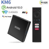 MeCool KM6 Deluxe Amlogic S905x4 TV Box Android 10.0 4 جيجابايت 64GB WIFI 6 Google معتمد ATV 4K AV1 BT5.0 1000M Set Box Box 2G 16G
