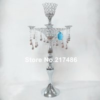 Party Decoration Beautiful Wedding Table Centerpieces 5 Arms Clear Crystal Candelabra For Sale