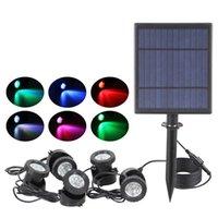 Solar Lamps Spot Lights Outdoor, 3 in 1 Solar Landscape Lights with RGB, IP66 Waterproof Solar Lights Outdoor Spotlight, Auto On Off