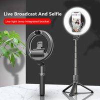 L07 الهاتف selfie عصا ترايبود مع 5 بوصة أدى الدائري 3 مستويات السطوع ملء ضوء تمديد بلوتوث النائية عصا selfie
