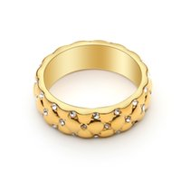 VAROLE Simple Lattice Pattern Ring for Women Gold Color Charm with Crystal Fashion Jewelry Chic Anniversary Gift