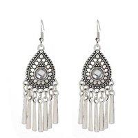 women's Water drop Tibetan silver Dangle Chandelier earrings fashion gift national style women DIY earring