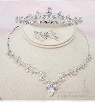 Earrings & Necklace Korean Crystal Bridal Crown 4pc Jewelry Sets Wedding Accessories For Women Wholesale