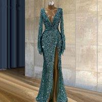 Green Sequined Sexy Deep V Neck Mermaid Prom Dresses Women Formal Party Night Side Split Evening Gown 2021 Elegant Vestido De Gala