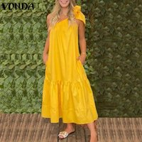 Casual Dresses Women One Shoulder Party Dress 2021 VONDA Elegant Bow Ruffled Maxi Long Beach Summer Sundress Vestido