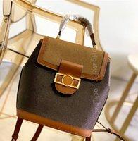 Designer de luxo mulheres moda sacos dauphine mochilas bolsa de couro genuíno couro macio segurança segurança fivela magnética bolsa mochila