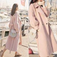 Lana femminile miscela di lana di moda Cappotto di base Giacche invernali Womencoat Womencoat Women Harajuku X-Lungo Collare a turno solido a vita larga wide