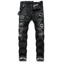 D2 Kot Erkekler Erkek Tasarımcılar Jean Sıska Yırtık Pantolon Serin Guy Nedensel Delik Denim Moda Fit Yıkanmış Pantolon 0202