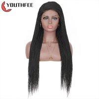 """Синтетические парики Youthfee Swiss Lace Front с младенцем волос 30 """"Твист плетеный парик для черных женщин боковой части"""