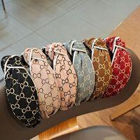 Koreanische Buchstaben drucken Kreuz geknotete Stirnbänder Vintage Retro- Charme frauen haarreifen weiten kanten vintage hairbands zubehör 6 farben