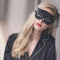 Duplex Silk Sleeping Eye Mask Sexy Fox Eye Shade Sleep Mask Black Mask Bandage on Eyes for Sleeping