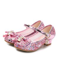 Sandals Princess Kids Leather Shoes For Girls Flower Casual Glitter Children High Heel Butterfly Knot Blue Pink Silver
