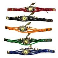 Wristwatches Fashion 1PC Womens Bracelet Watch Vintage Weave Wrap Quartz Mens Classic Leather Leaf Beads Wrist Watches Reloj P25