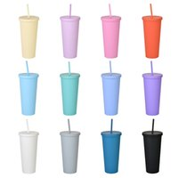 22oz TUMBLERS Mugs Matte Colored Acrylic with Lids and Straws Double Wall Plastic Resuable Cup Tumbler Plastic Frosted Water Cups