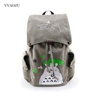 Totoro Canvas Backpack Travel Schoolbag Sword Art Online Attack on Titan Large Rucksack Shoulder School Bag Mochila Escolar 201119