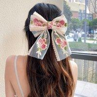 큰 활 헤어핀 귀여운 레이스 배럴 머리 클립 여성 여자 bb hairgrip 한국 특대 꽃 머리카락 액세서리