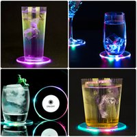 Transparent Acrylic LED Sticker Discs Lights Wine Decoration Liquor Bottle Clear Glass Cup Coaster with Colorful for Party wedding occassions birthday