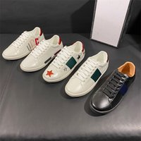 Erkek İtalya Arı Rahat Ayakkabılar Ace Bayan Siyah Beyaz Deri Tasarımcı Sneakers Düz Eğitmenler Yeşil Kırmızı Şerit Işlemeli Tiger Yılan Sneaker Chaussures