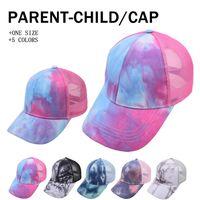 Tie-Dye-Ponytai-Hüte Eltern-Kind-Mesh-Hollow Mord-Basen-Baseball-Net-Kappe Trucker-Hut Sommer Sun Caps Erwachsene Kinder von Sea LLA849