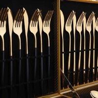 Gold Set Cutlery Dessert Fork Spoon Knife Spoons coffee Frosted Stainless Food Steel Western Steak Cutlerys Tableware 22CM