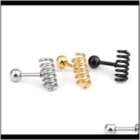 Stud Fashion Black Gold Spring Earrings Stainless Titanium Steel Simple Ear Studs Hiphop Women Men Spiral Earring Jewelry Zbvwc Rb6Ht