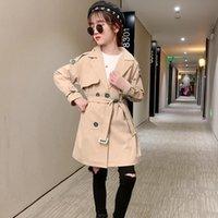 Coat 2021 Spring Autumn Girls Windbreaker Flower Embroidery Outwear Lapel Trench Fashion 4-12 CN(Origin)