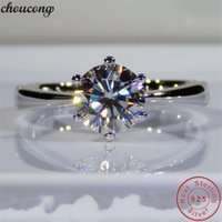 Cluster Rings Solitaire Female Ring 100% Real 925 Sterling Silver 0.6ct Sona Cz Engagement Wedding Band For Women Bridal Jewelry