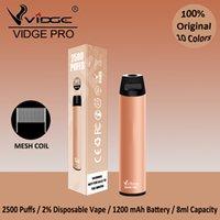 10 Colors 2500puffs Disposable Vape Pen Vidge Pro E Cigarettes Mesh Coil Design 1200mAh Battery 9.0ml Capacity Wholesale Bulk Price OEM Factory With Certification