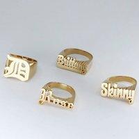 Anello di nome 3D personalizzato per uomo hip-hop rock rock esagerato anello dito punk unisex placcato oro placcato regalo gioielli anello personalizzato