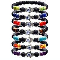 Hamsa Hand Natural Stone Lava Rock Bead Essential Oil Energy Gemstone 7 Chakra Diffuser Bracelet