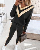 Mode Frauen Perlen Patchwork Trainingsanzüge Beiläufige Sportanzüge Pullover V-Ausschnitt Jacken Tops + Hosen Zwei Teile Set Outfits Schwarz Sweatsouits Plus Size Kleidung