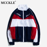 Mcckle manches longues patchwork vestes de patchwork automne hiver hip stand col collier veste streetwear zip manteaux