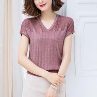 Cuello en v la mitad de las mujeres 2021 de la camiseta de manga corta de seda de hielo delgada de verano para mujer
